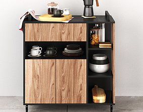KITCHEN CABINET with a set of dishes from ZARA 3D model