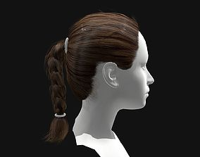 3D asset Female Short Plaited Hairstyles