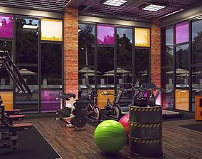 Modern Fitness Area 3D Model Vray Settings and PSD