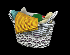 Basket with clothes 3D
