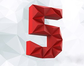 Lowpoly digit 5 3D print model