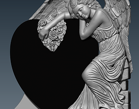 3d STL model for CNC angel heart flowers