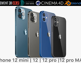 3D model Apple iPhone 12 mini and 12 and 12 pro and 12 1