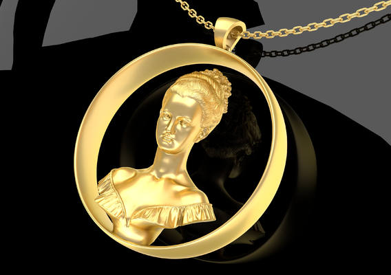 Bust Sculpture Pendant Jewelry Gold 3D print model