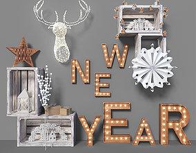 3D model New Year Decoration Set