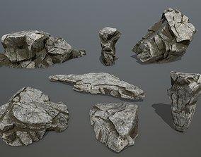 3D model low-poly rocks stone cliff
