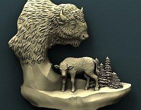 carved Bison 3d stl model for cnc