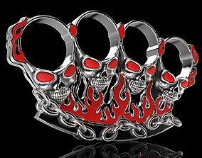 Jewelry 3D Badass Gothic Skull Ring Pair Design
