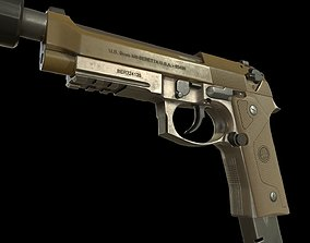 Beretta M9A3 with muffler 3D model