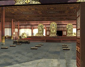 3D Ancient Chinese Buddhist Architecture Temple Main Hall