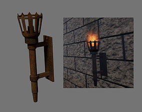 Medieval torch Game of Thrones Style 3D asset