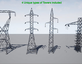 3D asset PBR Electric Transmission Towers