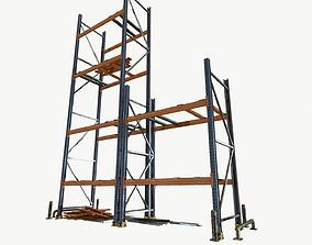 modular warehouse metal shelf 3D asset