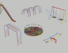 PBR Old Playground Equipment - Low-poly PBR Low-poly 3D