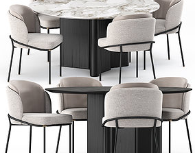 FIL NOIR chair and LOU Table by Minotti 3D