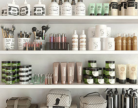 3D model Shelf with a collection of cosmetics