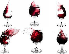 Splash Wineglass Set 3D model fluid