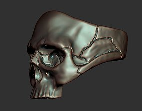Skull ring 3D print model bikers