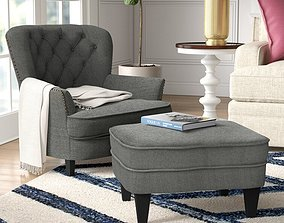 3D model Heywood Wide Tufted Armchair and Ottoman - 2