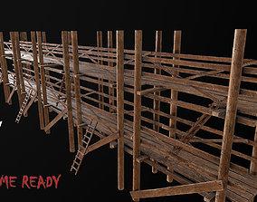 3D model Wooden Scaffolding PBR