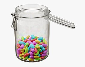 Jar with jelly beans 02 3D model