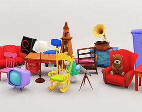 Cartoon Furniture Package 1 3D asset