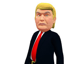 3D asset Donald Trump Caricature low poly rigged animated