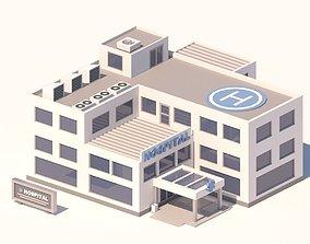 3D model Cartoon Low Poly Hospital Building