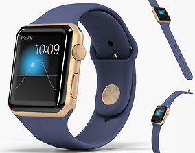Apple Watch Gold Aluminum Case Midnight Blue 3D asset 1