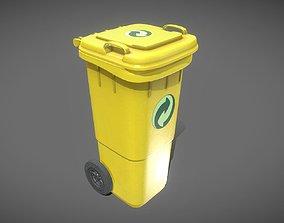 Yellow Plastic Waste Bin 60 Liters 945x360x448 3D model