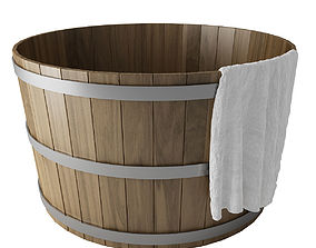 Wooden Hot Tub with towel 3D model