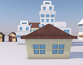 poly Origami Buildings 3D model