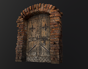 3D asset Old Medieval Door with an Arch exterior