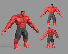 3D asset Hulk red