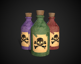 Poison Bottles 3D asset