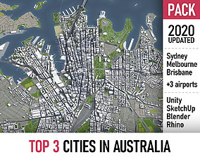 Top 3 Cities in Australia 3D model