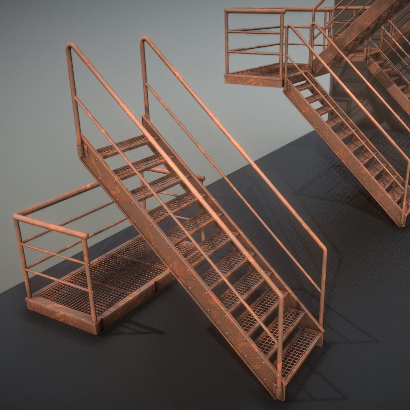 Modular Industrial Staircase Rusted Version (High-Poly)