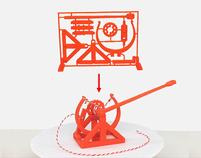 3D-printable Davinci catapult gift card mechanical