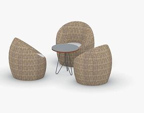 3D asset 0636 - Table and Chairs Set