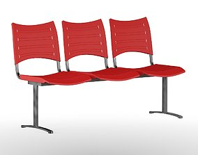 Triple Red Chair 3D model