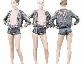 3D asset Leather Short Pink Top and Transparant Jacket