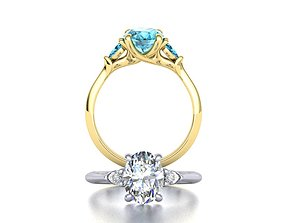 Three Stone ring with 9x7 Oval stone 3dmodel oval
