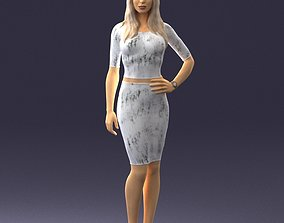 3D Slender blonde girl in top and skirt 2021