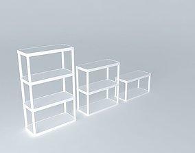 Plastic shelves without holes 3 pack 3D model