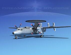 3D Grumman E-2C Hawkeye Bare Metal