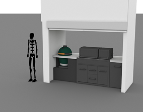 3D asset Grill stall