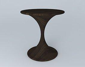 3D American Walnut Side Table 06077