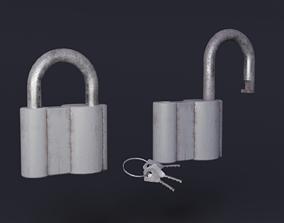 3D asset low-poly PBR Padlock