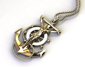 anchor with Jesus only light gold no diamond 3D