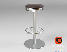 3D model Metal Bar Stool with Leather Seat